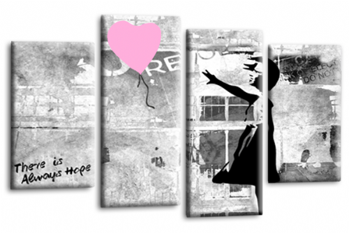 Banksy Art Pink Balloon Girl Multi Wall Picture Love Peace Hope Print